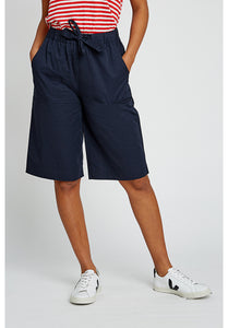 Knee Length Navy Organic Cotton Shorts - Fair Trade