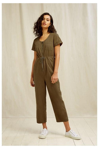 Organic Cotton Stretch Utility Jumpsuit - Khaki Green