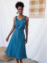 Load image into Gallery viewer, Brighton A-Line Skirt with Buttons - Blue Linen