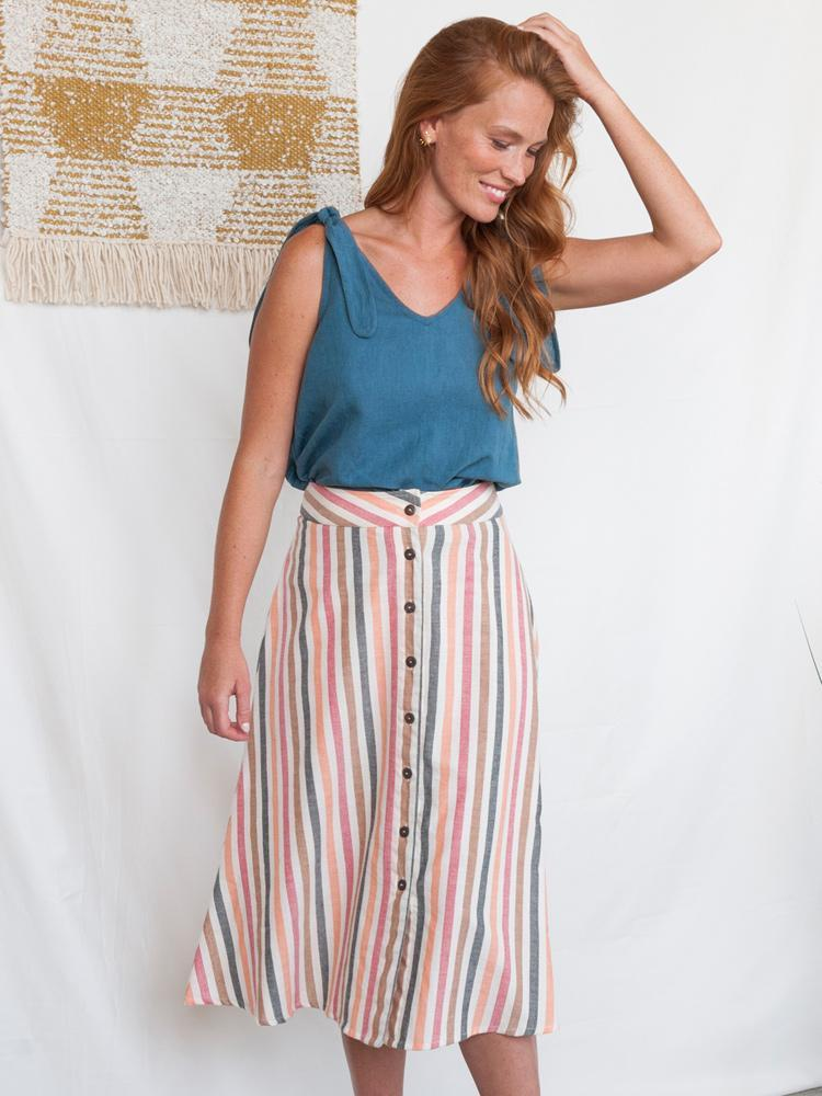 Brighton A-Line Skirt with Buttons - Sunset Stripe Cotton