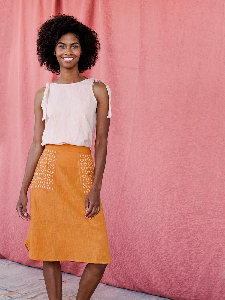 Hand Embroidered Orange Woven Cotton Skirt - Fair Trade