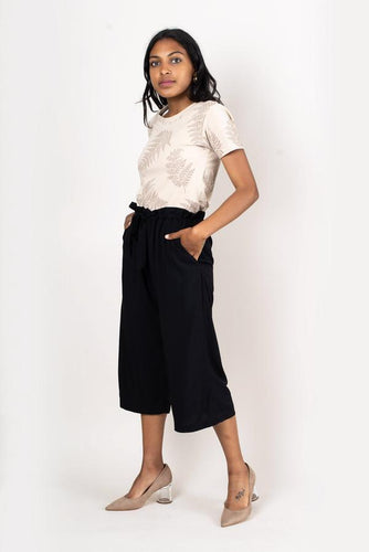 Black Culottes with Drawstring Accounts