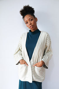Zero Waste Handwoven Jacket - Grey and White