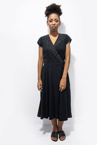 Zero Waste Mekong Wrap Dress - Black with Hand Embroidery