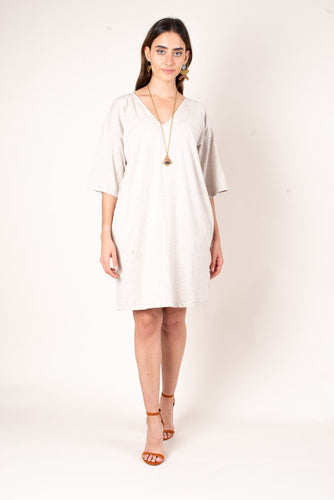 Zero Waste Fashion Relaxed T-Shirt Dress - Oatmeal