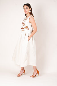 Zero Waste tonle Sea Glass Applique Dress - Oatmeal Linen