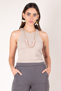 tonle Zero Waste Fashion Rib Crop Top - Beige
