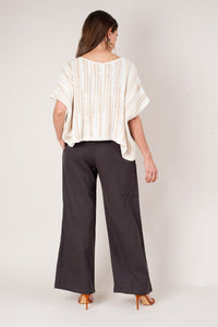 Sothea Linen Tie Front Pants - Chocolate