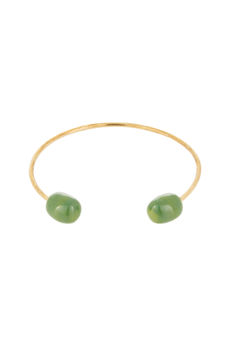 Two Bead Bangle - Brass