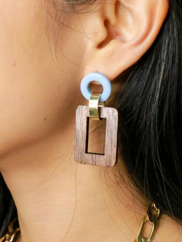 Fair Anita Resin and Wood Pendant Earrings - Made in India
