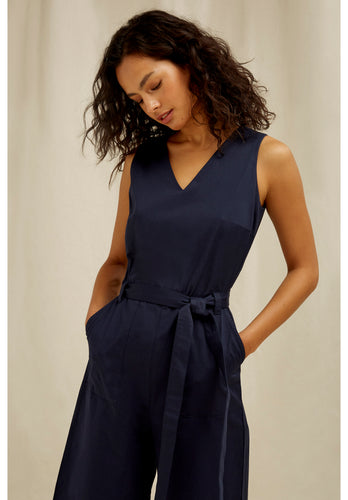 Organic Cotton Navy Belted Jumpsuit