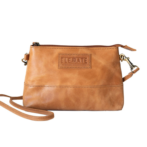 Zipper Pouch Leather Crossbody Bag
