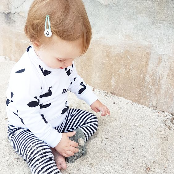 Deer One - White Swan Print Long Sleeve Romper
