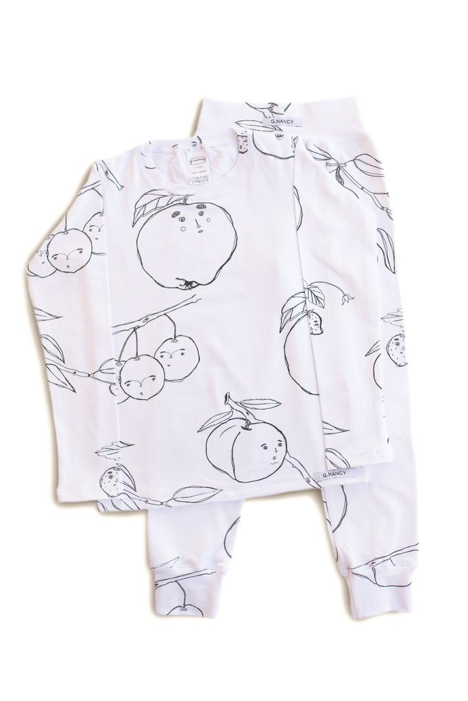 G.Nancy – Fruit Long PJ Set in White