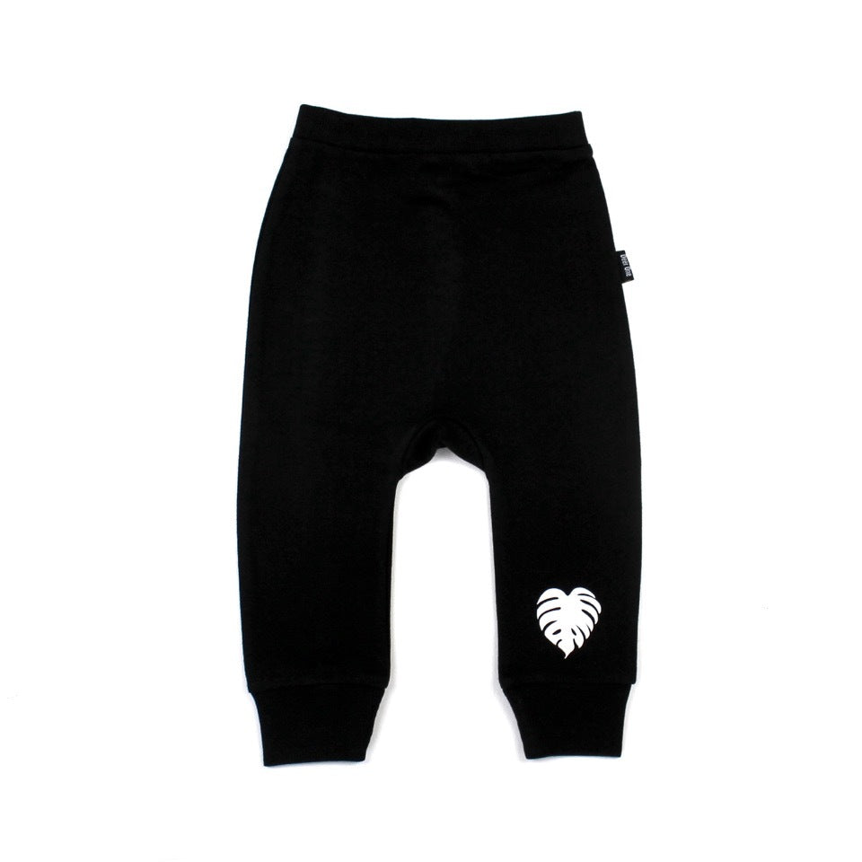 Deer One - Black Monstera Harem Pants