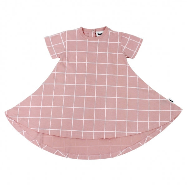 Deer One - Pink Grid Swing Dress