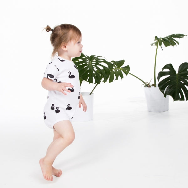 Deer One - White Swan Print Short Sleeve Romper