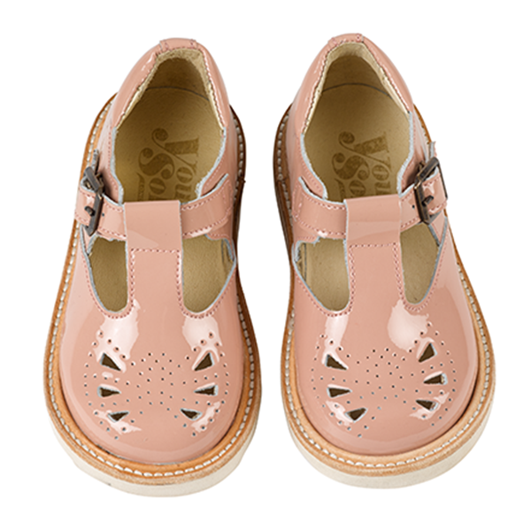 Young Soles - Rosie T-Bar - Blush Pink Patent