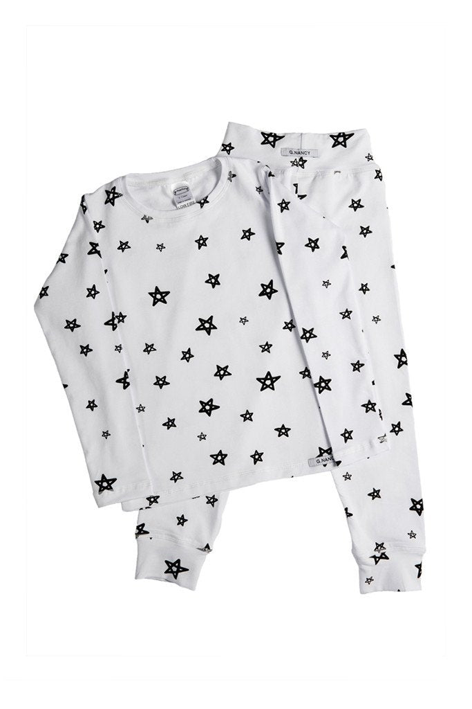 G.Nancy – Star Long PJ Set in White