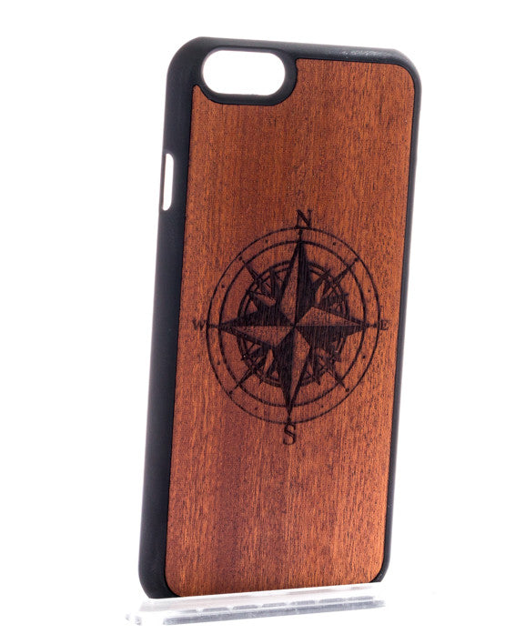 iPhone/Samsung - Wood Compass Phone Cover - Handcrafted - Paradisegadgets.com