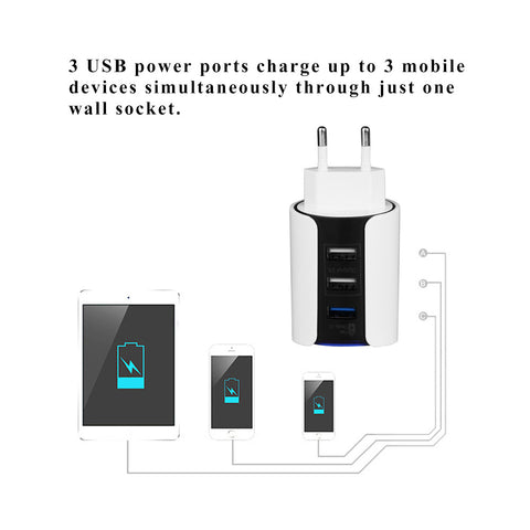 3 USB Phone Charger Quick Charge EU plug Charger - Paradisegadgets.com