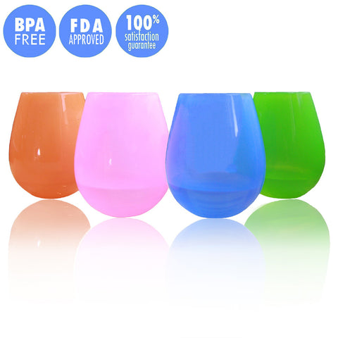 Set of 4 Unbreakable Silicone Wine Glasses - Paradisegadgets.com