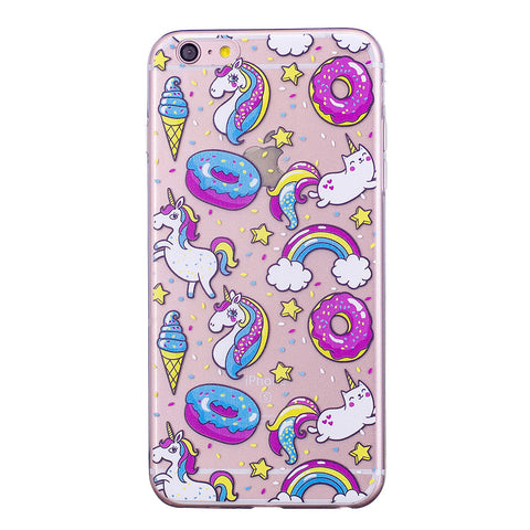iPhone Cover - Transparent Doughnut & Unicorn Pattern - Paradisegadgets.com