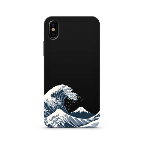 iPhone/Samsung - Black Wood Printed Cover With Waves - Paradisegadgets.com