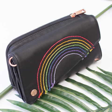 *Limited Edition* Embroidered Rainbow V.I.Pouch- Betseybrite Designs