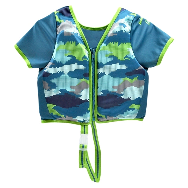 Swim Trainer Vest with Sleeves - Blue Camo