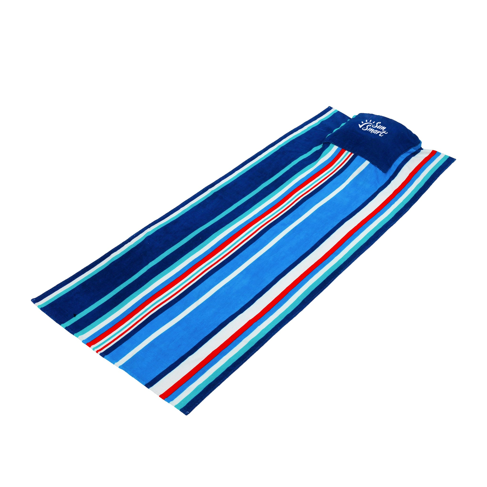 Adult Portable Towel & Pillow Nautical Stripes