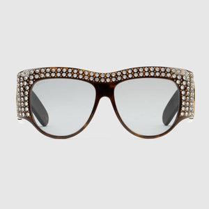 Oversize acetate sunglasses with crystals