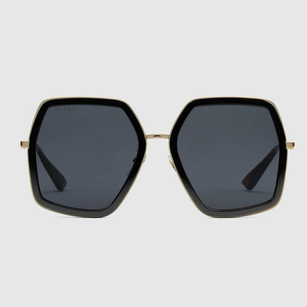 Oversize square-frame metal sunglasses