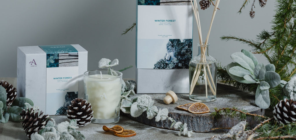 Candle and Diffuser on table with frosted pine cones, fir and mandarin slices.