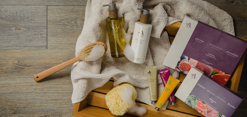 Hand Care gift sets in wooden tray with neutral towel, sponge and body brush