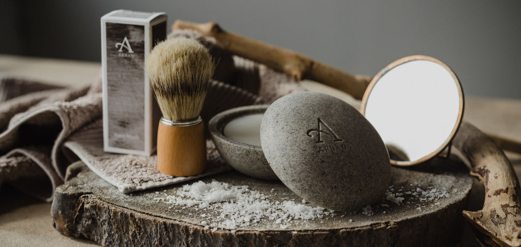 Men's Shave Brush and Grey Shave Stone with sea salt and mirror.
