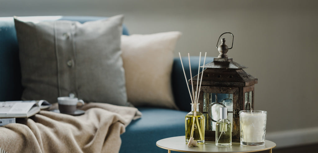 Lounge featuring scented candle, reed diffuser and room spray from ARRAN Sense of Scotland