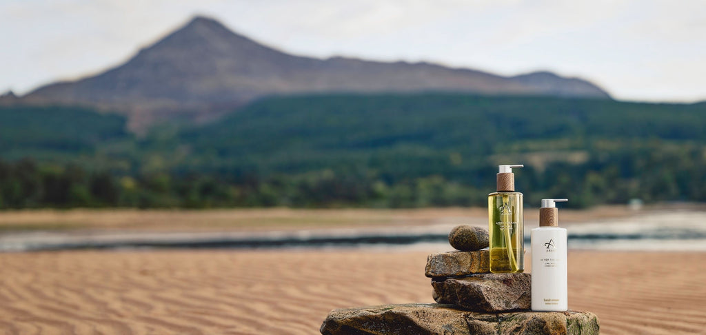Image of hand wash and hand cream on the Isle of Arran
