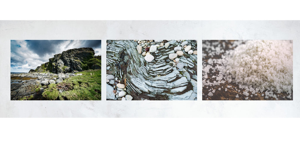 Three images of Machrie shores on the Isle of Arran, pebbles on a beach and sea salt.