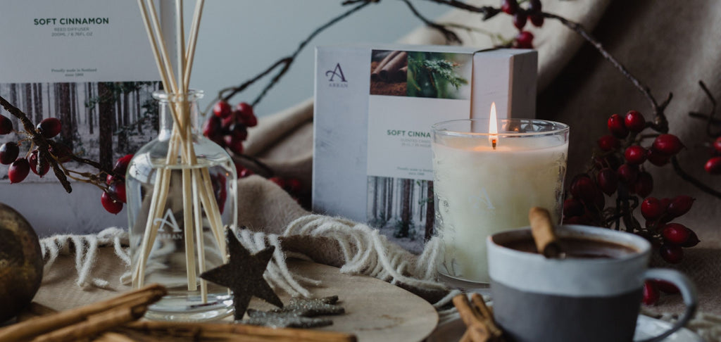 Lit soft cinnamon candle and reed diffuser, with cinnamon sticks and hot chocolate