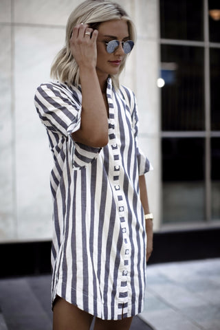 Striped Half Sleeve long shirt top