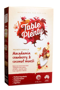 Table of Plenty Macadamia Cranberry And Coconut Muesli (500g) - mrs-free-singapore