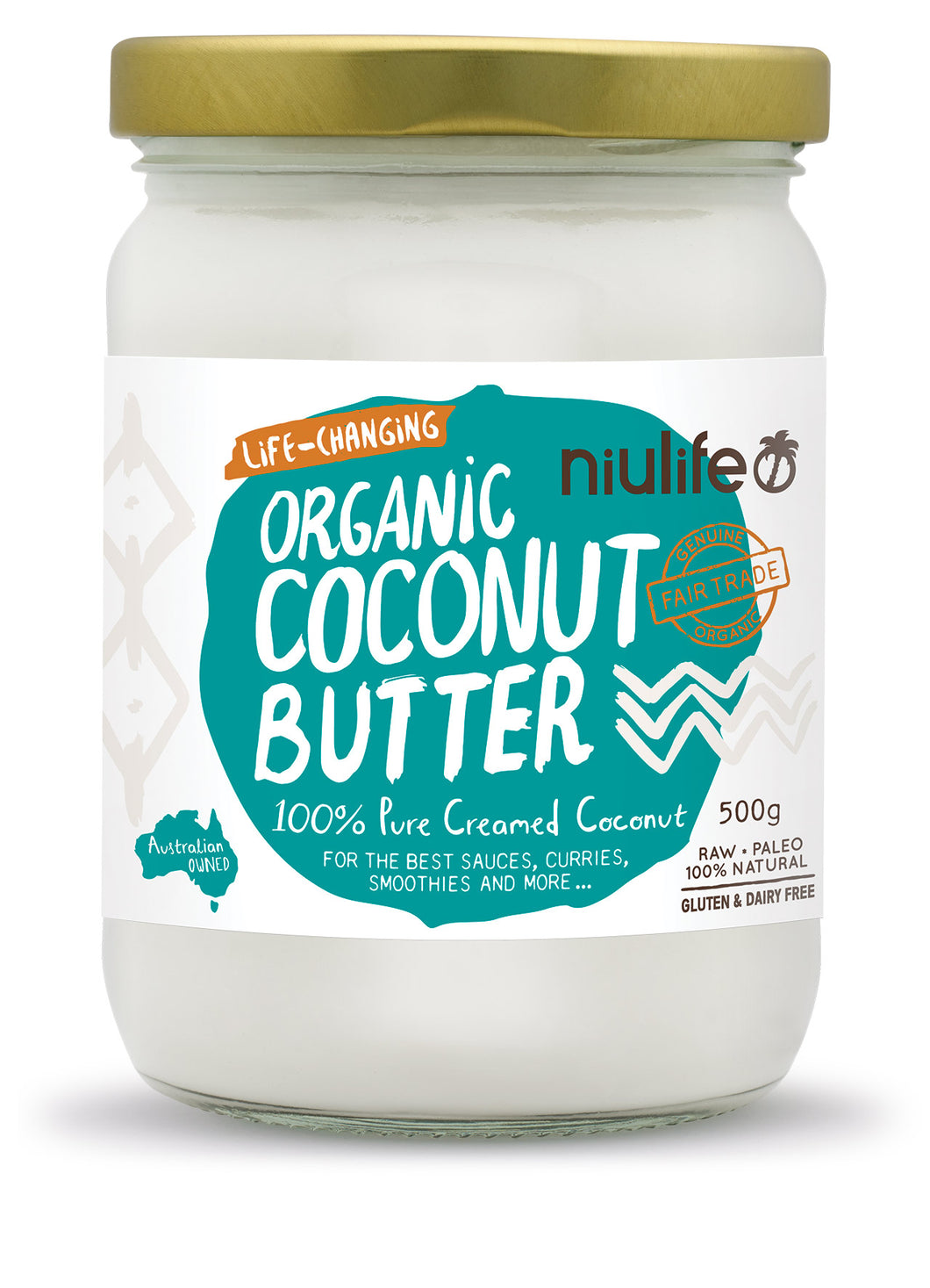 Coconut Butter - Certified Organic - 500g Glass Jar - mrs-free-singapore