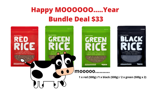 CNY MOOOOO Bundle Deal! (1 x red/1 x black / 2 x green) 500g ea