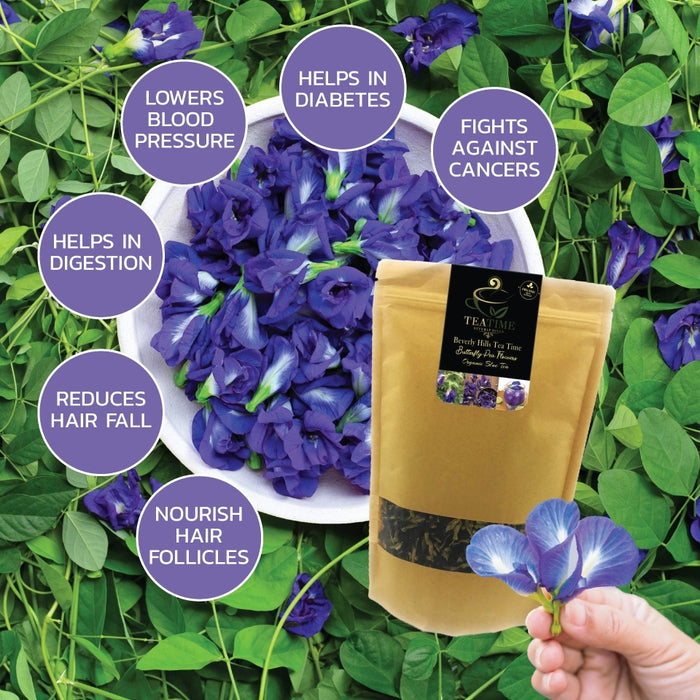 100% Organic Dried Pure Butterfly Pea Flowers 1.60 Oz. (50 g.) Herbals Blue Tea, All Natural Ingredients, Nontoxic, GMO-Free, Safe and Healthy in Zipper Packaging