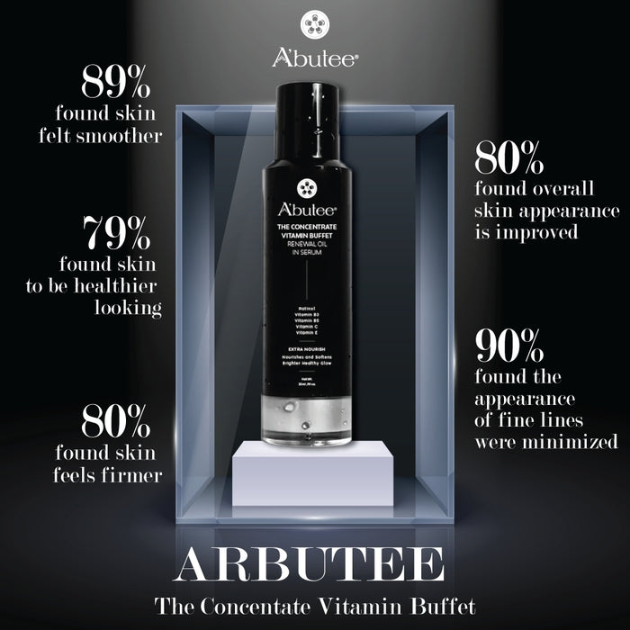 ARBUTEE | The Concentrate Vitamin Buffet Renewal Oil in Serum- Retinol, Niacinamide(B3),Vitamin B5,Vitamin C,Vitamin E-Radiant Complexion, Even Skin Texture, Moisturizing Skin Repair Facial Serum