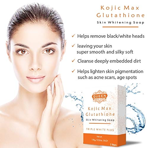 Pack of 2 Bars | Kojic Max+Glutathione | QUEEN Natural Skin Whitening Whipp Soap - Tripple White Plus