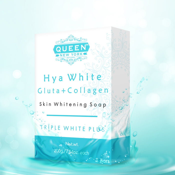 Pack of 2 Bars | Hya White Gluta+Collagen | QUEEN Natural Skin Whitening Whipp Soap