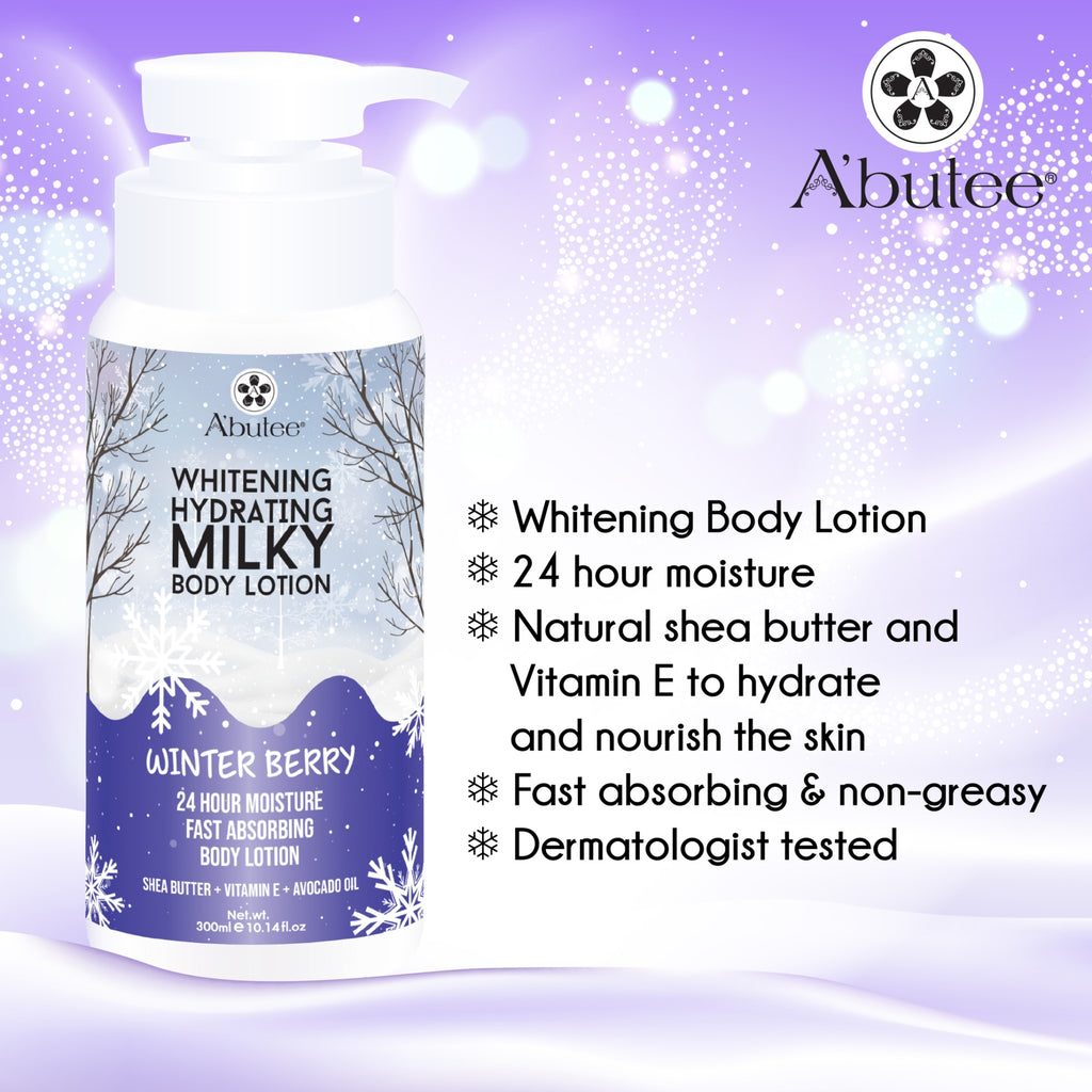 A'butee | Winter Berry Hydrating Milky Body Lotion-24 Hour Moisture Fast absorbing with Shea Butter Vitamin E and Avocado Oil (1 Bottle, winter berry) (1 Bottle)
