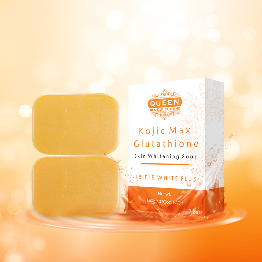 Pack of 3 Bars | Kojic Max+Glutathione | QUEEN Natural Skin Whitening Whipp Soap - Triple White Plus (Limited Edition)